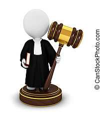 3d white people judge with a gavel, a book and wearing a ...