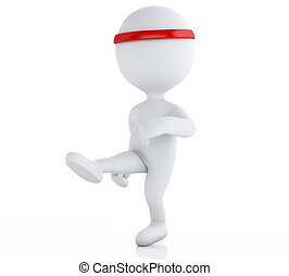 3d White people karate fighter. Sports concept