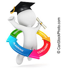 3d white people learning cycle, isolated white background,...
