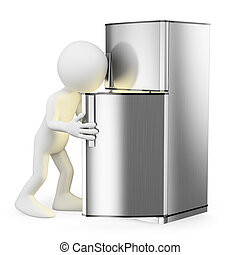 3D white people. Looking in the fridge