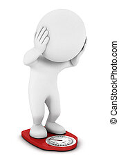 3d white people gained a lot of weight on bathroom scales, isolated white background, 3d image