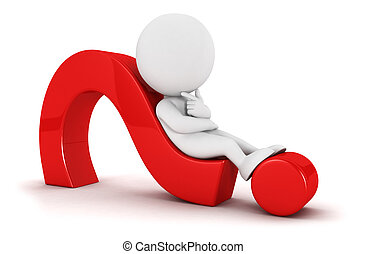 3d white people looks for an idea lying on a red question mark, isolated white background, 3d image