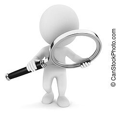 3d white people examines through a magnifying glass, isolated white background, 3d image