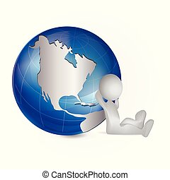 3D white people man and map world globe logo