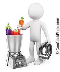 3D white people. Man cooking healthy in a food processor - ...
