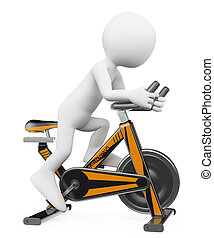 3D white people. Man doing spinning on a bike - 3d white...
