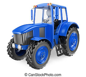 3D white people. Man driving a tractor