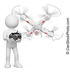 3D white people. Man flying a drone with camera