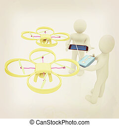 3d white people. Man flying a white drone with camera. 3D render. Vintage style.