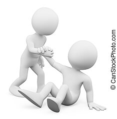 3d white people. Man helping a fellow up. Concept of fellowship. Isolated white background.
