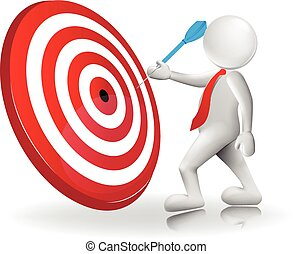 3d white people man hit the red target with blue dart icon logo