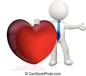 3D white people man holding a heart love vector image logo template