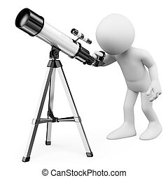 3D white people. Man looking through a telescope