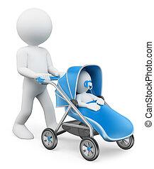 3D white people. Man pushing a baby stroller