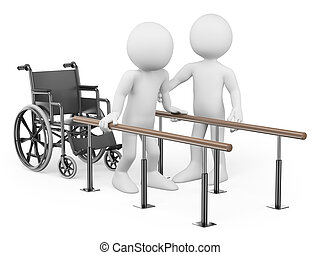 3d white people. Man recovering from his injury in rehabilitation center with a physical therapist. Isolated white background.