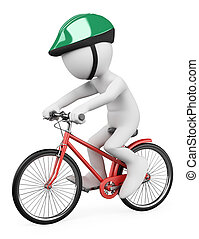 3D white people. Man riding bicycle