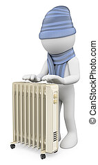 3D white people. Man warming up with a radiator