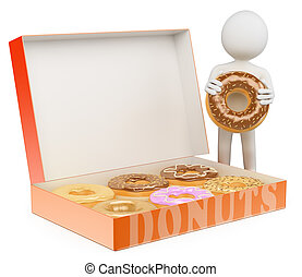3D white people. Man with a box of donuts