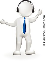 3D white people man with headphones logo