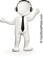 3D white people man with music headphones logo