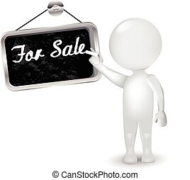 3d white people man with sign for sale