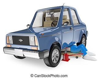3D white people. Mechanic repairing a car