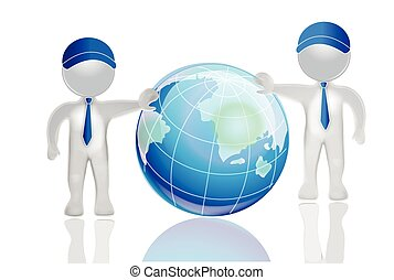 3D white people men with earth globe world map