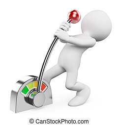 3d white people. Man pulling a metallic on off switch. Isolated white background.