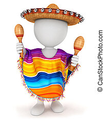 3d white people mexican with a sombrero, a poncho and...