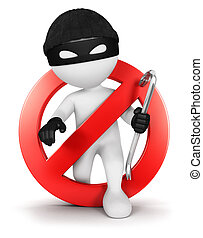 3d white people no thief, isolated white background, 3d image