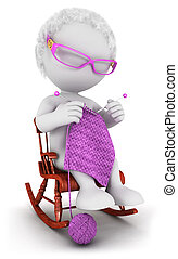 3d white people old woman