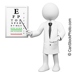 3d white optician in a medical ophthalmologic checkup. 3d image. Isolated white background.