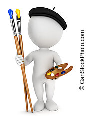 3d white people painter with paint brushes and palette, ...