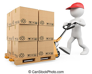 3d white person pushing a pallet truck. 3d image. Isolated white background.