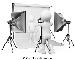 3d white people. Photographer working in his studio with a model. Isolated white background.