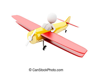 3d White people piloting an airplane