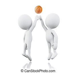 3d White people playing basketball.