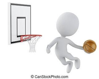 3d white people playing basketball trying to score.