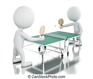 3d White people playing ping pong.