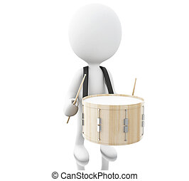 3d White people playing the drum with drumsticks