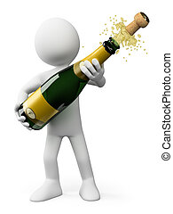 3D white people. Popping the cork of a bottle of Champagne -...