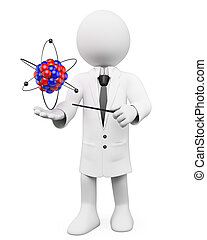 3d white person with an atom and a stick. 3d image. Isolated white background.
