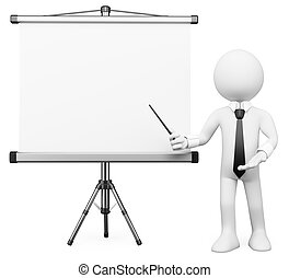3D white people. Projection screen - 3d white business...
