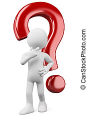 3d white person thinking and doubtful with a question mark. 3d image. Isolated white background.