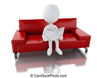 3d white people reading a newspaper, sitting on an armchair.