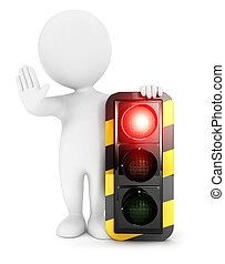 3d white people red traffic light