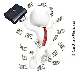3d white people rich businessman, isolated white background,...
