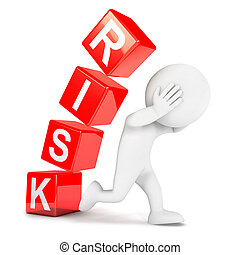 3d white people risk, isolated white background, 3d image