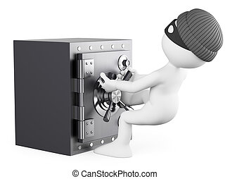3D white people. Robber stealing a safe