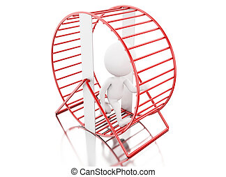 3d White people running in a hamster wheel